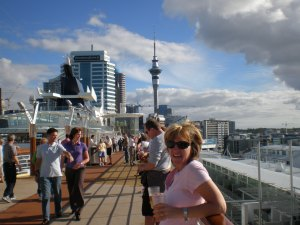 First day on the ship with Auckland in the back groung