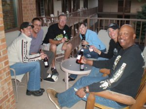 some of us outside on the deck having a beer.