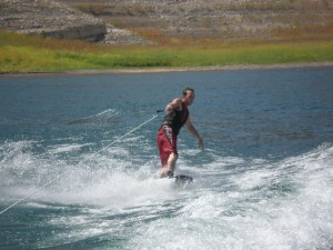 Frank learning how to Wake Board